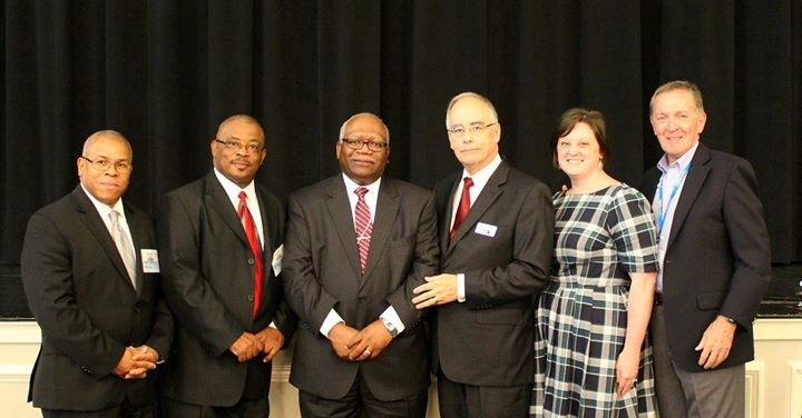 New Era and CBF/GA leaders pictured at April 15 covenant signing ceremony. From left to right, Stanley A. Smith, Vice President, NEMBC, Michael W. Baldwin, Vice President, NEMBC, Douglas E. Stowers, President, NEMBC, Frank Broome, Executive Coordinator, CBF/GA, Sarah Murray, Moderator, CBF/GA, Henry D. Tyson, Jr., Moderator-Elect, CBF/GA