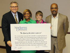 New Baptist Covenant Dallas Covenant of Action partners, left to right, the Rev. George Mason, Minister Danielle Ayers, the Rev. Heather Mustain, and the Rev. Frederick Haynes. Photo courtesy of Wes Browning/Sema Films